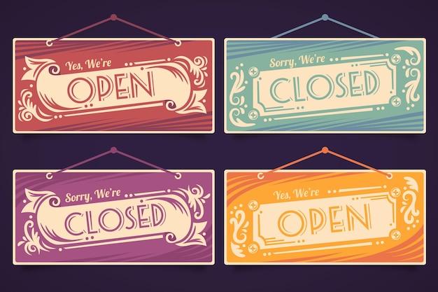 Tabuleta aberta e fechada