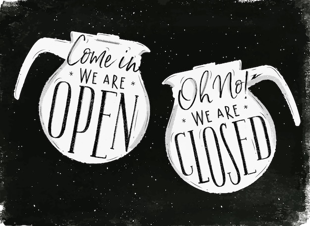 Tabuleta com cafeteira em estilo vintage letras vêm em estamos abertos