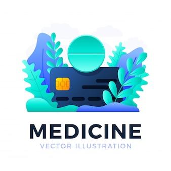 Tabuleta da medicina com ilustração do estoque do cartão de crédito isolada em um fundo branco. o conceito de conceito de pagamento de medicamentos com o cartão. parte frontal do cartão com texto