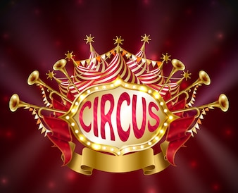 Tabuleta de circo com lâmpadas incandescentes, barraca listrada, trombetas, estrelas e bandeiras