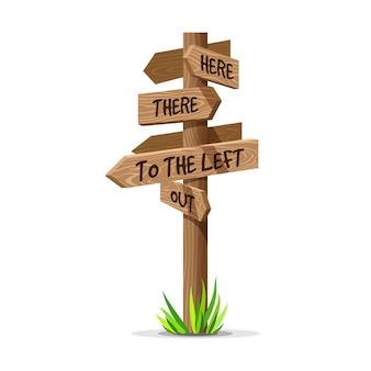 Tabuleta de direção de flecha de madeira