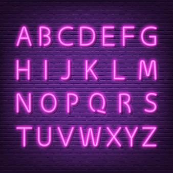Tabuleta de fonte de alfabeto néon