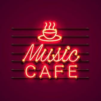 Tabuleta de ícone de texto de café de música de néon no fundo vermelho.