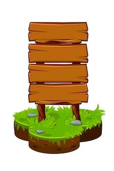 Tabuleta de madeira, painéis de madeira na ilha dos desenhos animados.