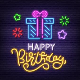 Tabuleta de néon de feliz aniversário