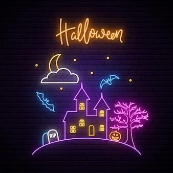 Tabuleta de néon de halloween