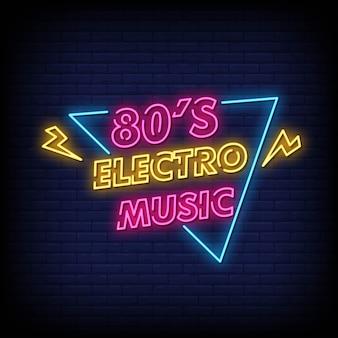 Tabuleta de néon de música electro dos anos 80 na parede de tijolo