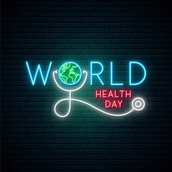 Tabuleta de néon do dia mundial da saúde.