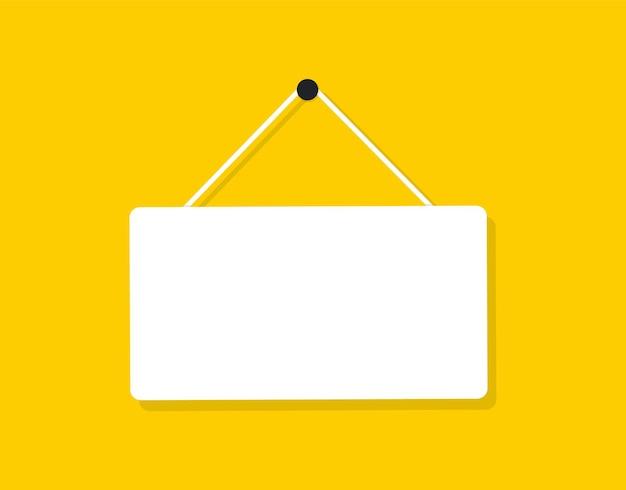 Tabuleta plana em branco. bandeira branca com lugar para texto de suspensão. ilustração vetorial.