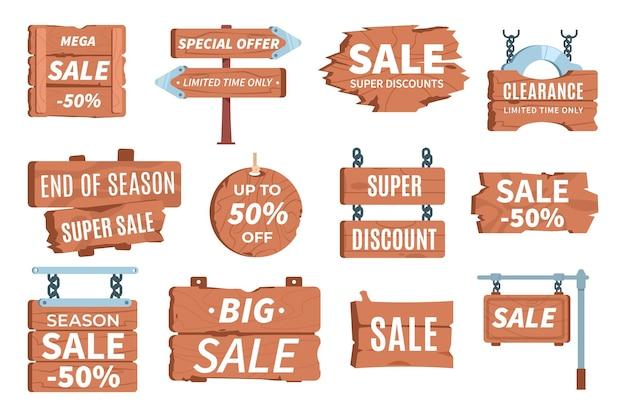 Tabuletas de preços de madeira informações sobre preços dos desenhos animados símbolo rústico venda de tabuletas de madeira de vetor