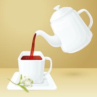 Taça de chá e pote
