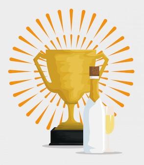 Taça de champanhe com prêmio para feliz comemoração
