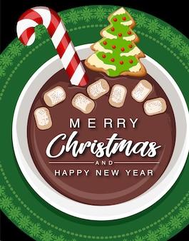 Taça de chocolate quente de natal.