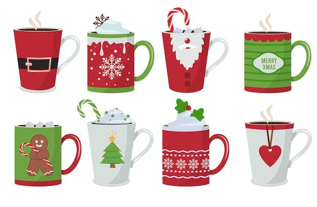 Taça de natal. férias de café quente bebidas canecas decoração natal design