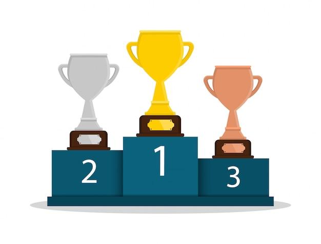 Taça de ouro, prata e bronze. 1, 2, 3 lugar. prêmio. vencedora.