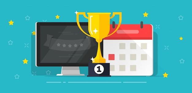 Taça de prêmio vencedor sucesso com o primeiro lugar perto da data do computador e do calendário