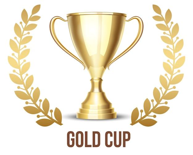 Taça de troféu dourada com coroa de louros
