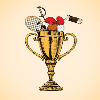 Taça de troféu esportiva