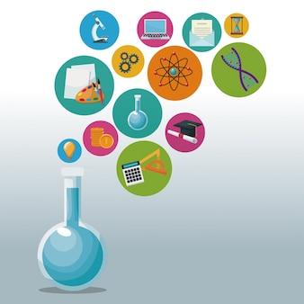 Taça de vidro para laboratório com ícones de bolhas conhecimento acadêmico