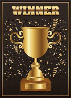 Taça do troféu de vencedor dourada com confete e palavra