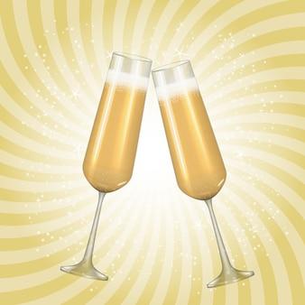 Taça dourada de champanhe 3d realista