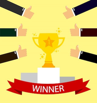 Taça para o vencedor. o conceito é o melhor nos negócios.