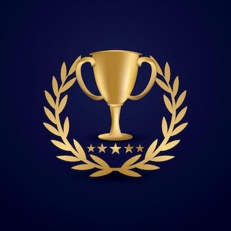 Taça troféu dourada com coroa de louros