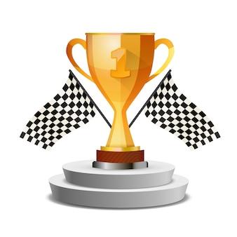 Taça vencedor brilhante brilhante no pedestal com bandeiras