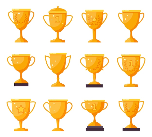 Taças de campeão de ouro. taças de troféu de vencedor de ouro, taças de prêmio de conquista.