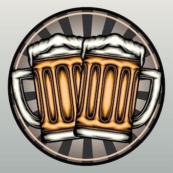 Taças de cerveja na mão desenhadas