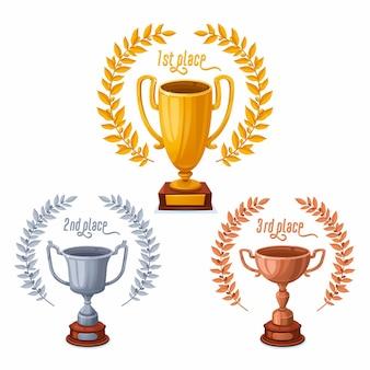 Taças de troféu ouro prata e bronze com coroas de louros