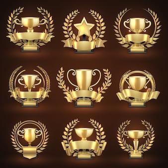 Taças de troféus vencedoras de ouro, prémios desportivos premiados com grinaldas e fitas douradas. campeonato de emblema e coleção de liderança. ilustração vetorial