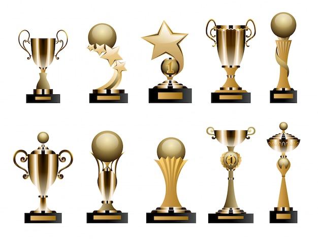 Taças e prêmios de troféus de ouro