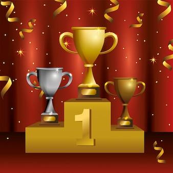 Taças para premiar a celebração da vitória