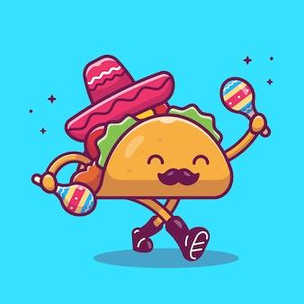 Taco bigode mascote cartoon ilustração. caráter taco bonito e maraca. conceito de comida isolado