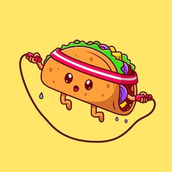 Taco bonito jogando corda de pular ícone dos desenhos animados ilustração vetorial. conceito de ícone do esporte alimentar isolado vetor premium. estilo flat cartoon