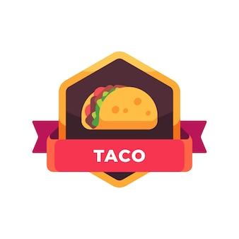 Taco com salada e tomate. rótulo de fast-food mexicano