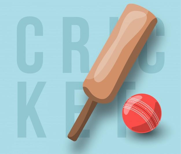 Taco cruzado de críquete, bola e texto. modelo e emblema de esporte profissional moderno estilo retro