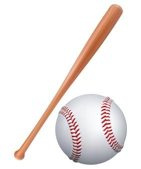 Taco de beisebol e bola isolado no branco.