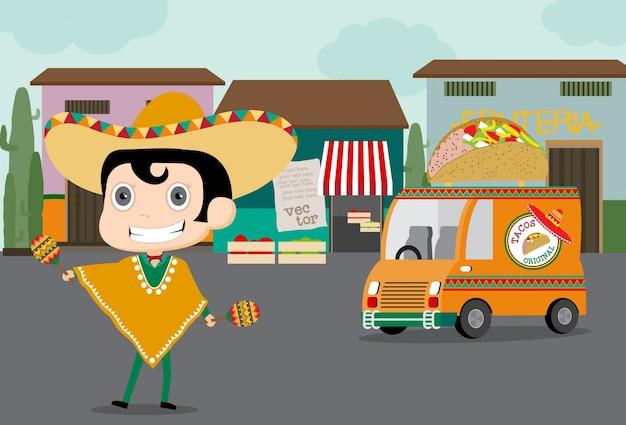 Taco homem entrega comida mexicana
