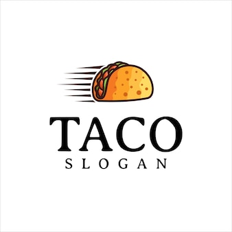 Taco logo design vector restaurante fast food e símbolo de café