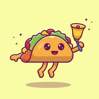 Taco mascote dos desenhos animados ilustração. personagem de garoto taco bonito com sino. conceito de comida isolado