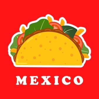 Taco mexicano tradicional. ilustração de comida mexicana.