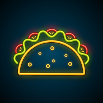 Taco mexicano tradicional publicidade sinal de néon
