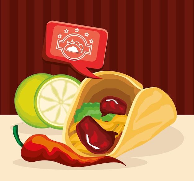 Taco mexicano tradicional Vetor Premium