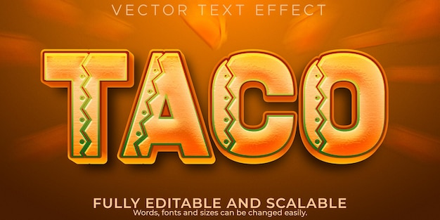 Taco sino texto com efeito de texto editável mexicano e estilo de texto de comida