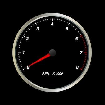 Tacômetro. escalas redondas no fundo preto.
