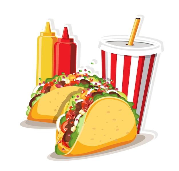 Tacos com carne e vegetais, ilustração de comida taco méxico.
