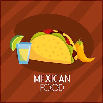 Tacos comida mexicana picante com molho