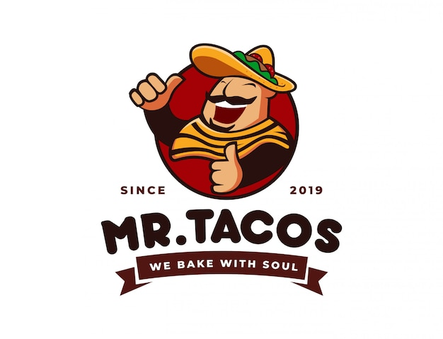 Tacos de chapéu sombrero, logotipo da mascote de restaurante mexicano